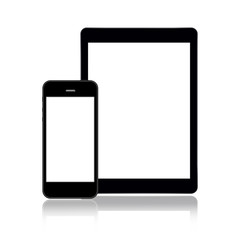 Tablet and smartphone on white background