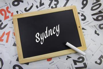 Sydney auf eine Tafel geschrieben