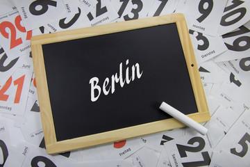Berlin auf eine Tafel geschrieben