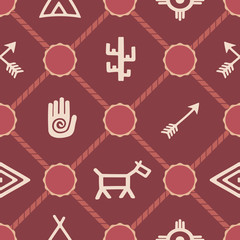 seamless background with native american symbols
