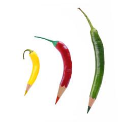 Drei Chili-Farbstifte