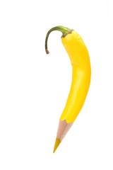 Gelbe Farbstift-Peperoni