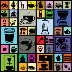 black color coffee icons in colorful square background