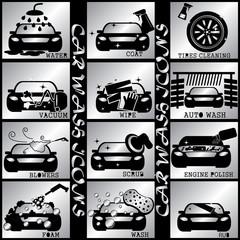 silver color carwash icons