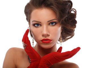 Isolated Beauty Fashion Glamorous Model Girl  Vintage Portrait.