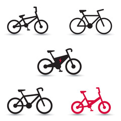 Electric Bike and other bikes icons vector illustration, eps10
