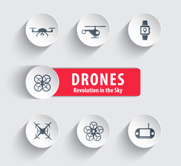 Drones round icons with shadow vector illustration, eps10