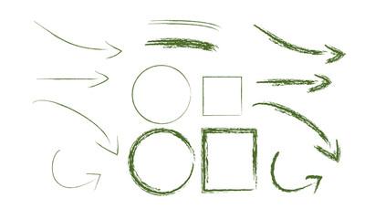 flèche carré cercle fusain crayon vecteur