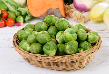 basket of Brussel Sprouts with vegetables