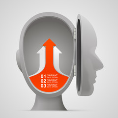 Vector arrows business growth in the open head