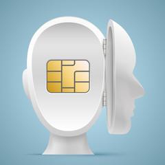 Sim card in an open mind