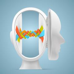 Link inside the head. Vector illustration