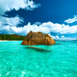 canvas print picture - Beautiful beach at Seychelles