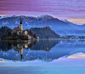 Sunrise in the Bled lake. Slovenia.