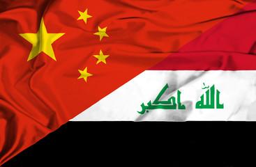 Waving flag of Iraq and China