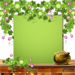 Green banner with clover, and pot of gold