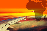 Wing airplane on Africa map background.