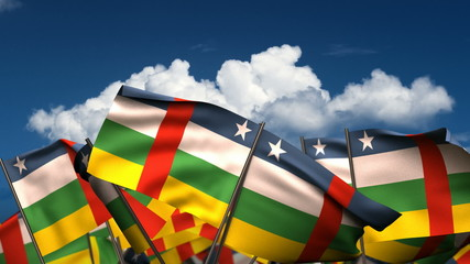 Waving Central African Flags