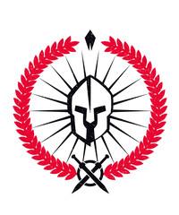 Grunge emblem with spartan helmet, black and red, eps10