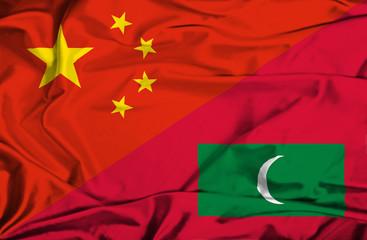 Waving flag of Maldives and China