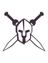 spartan helmet with crossed swords vector illustration, eps10