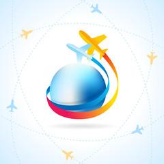 airplane flight air fly travel takeoff blue globe element