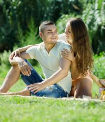 loving couple having picnic