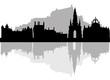 Edinburgh skyline - black and white vector illustration - 77740481