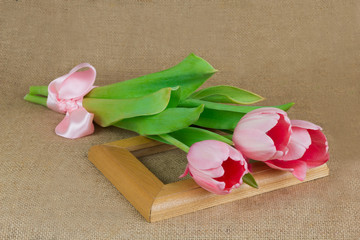 Three pink tulips with satin ribbon lying on the frame