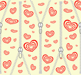 Pattern with zippers and red hearts