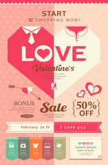 Happy Valentines day sale pink heart design