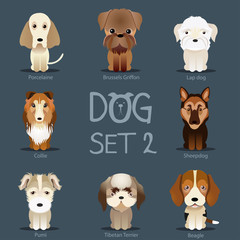 Dogs Set 2. Vector breed of dogs.