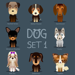 Dogs Set 1. Vector breed of dogs.