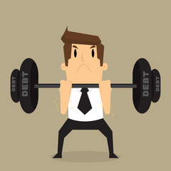 businessman lifting heavy weight debt