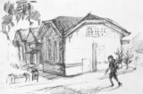 House on street, pencil drawing - 77741820