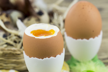 Brown Eggs in Egg Cups  Basket of Eggs with Feathers