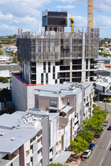 Australian construction site with screen system during the day
