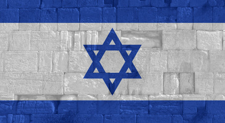 National flag of Israel with wailing wall background