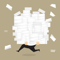 Businessman run holding a lot of documents in his hands