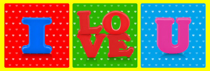 i love you word on colorful background, pop art style