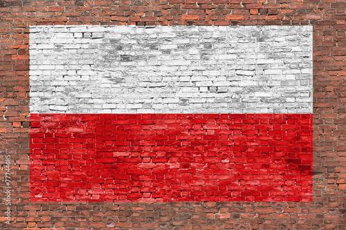 Obraz na płótnie Flag of Poland painted on brick wall