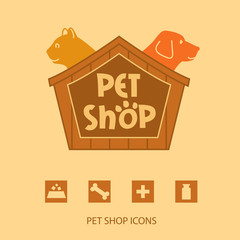 Logo with animals for pet shop. Cat and dog in the house. Vector