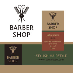 Vector heraldic logo for a hairdressing salon. Business card and
