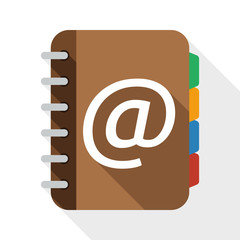 Address book flat icon with long shadow on white