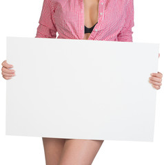 Cropped image of woman showing blank banner