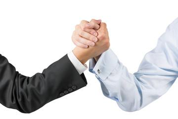 businessmen engaged in arm wrestling