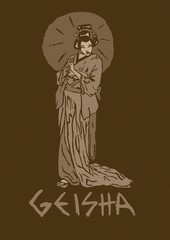 Vintage geisha with umbrella
