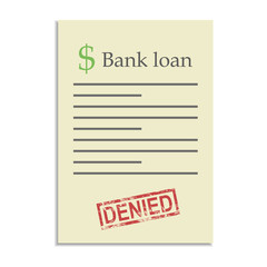 Bank loan document with denied stamp