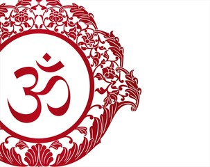 aum syllable, paisley floral design , Hinduism , India