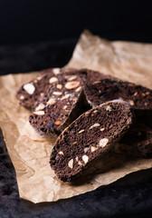 Dark chocolate biscotti with nuts